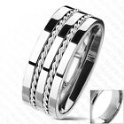 Titanium Double Twisting Rope Wedding Band Ring Size 8-13 (Engraving Avail)
