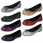 Ladies Anne Michelle Bow Detail Slip On Glittery Ballerina Flat Shoes F8R0184