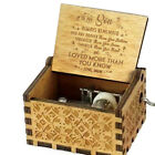 US Retro Wooden Music Box Antique Hand Crank Engraved Toys Kids Birthday Gift