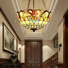 Retro Tiffany Style Handcrafted Ceiling Light Fixture Stained Glass Chandelier