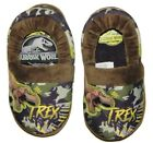 JURASSIC WORLD PARK T-REX Boys Camouflage Plush Slippers Size 9-10 or 11-12 NWT