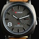Men Military Leather Date Quartz Analog Army Casual Dress Wrist Watches US Stock image