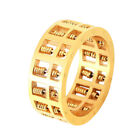 Abacus Ring Gold Titanium Steel Maths Number Rotatable Beads Charms Jewelry