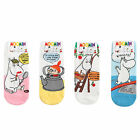 Moomin Socks Womens Ankle Socks Casual Cartoon Character Socks (4 Pairs Set)