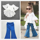 New Cute Kids Baby Girls Outfits Cotton tops Denim Flared pants Clothes 2pc Sets