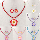 Ab_ Lady Hawaii Flower Hook Earrings Multilayer Wax Rope Necklace Jewelry Set Su