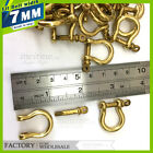 7mm Solid Brass Bow Shackle Joint Connect D Ring Key Chain Fastener Clip Lot