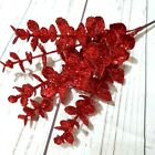 Red Glitter Eucalyptus Pick Christmas Tree Decoration. Candy Cane Xmas Wreath