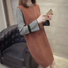 Women Sweater Dresses Long Sleeve Knitted Dress Knit Sundress Stripe Patchwor 2Y
