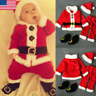 NEW Christmas Baby Boy Girl Clothes Santa Claus Tops+Pants+Hat+Shoes Xmas Outfit