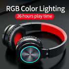 Colorful LED Wireless/Wired Headphones Bluetooth Gaming Earphone Stereo Headset