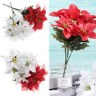 7 Heads Real Touch Flannel Poinsettia Christmas Tree Flowers Wedding Party Decor