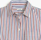 J Crew Womens Washed Red White Blue Striped Shirt MED LG  MSRP $59.50