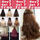 CLEARANCE Hair Extensions Half Head 1 Piece Curly Straight feels real Brown Red