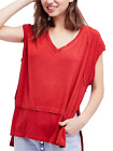 Free People Voyage Draped Tiered T-Shirt (Red)