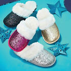 Avon Ladies Womens Slip On Mule Slippers Glitter Faux Fur Lined Size 4 5 6 7 8