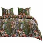 Wake In Cloud - Forest Comforter Set, Autumn Fall Camo Leaves Trees Wood Hunter