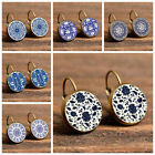 Women Ethnic Blue White Porcelain Round Clip Leaverback Earrings Jewelry Novelty