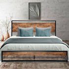 Kyпить Queen Full Twin Size Metal Platform Bed Frame with Rustic Wood Headboard Brown на еВаy.соm