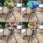Iron/glass Round Side Coffee Table Mosaic Design Garden Patio Flower Plant Stand