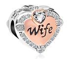 Rose Gold Wife Heart Love Charm Pandora Bracelet Charms Bracelets New Year Gift  image