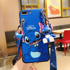 Cute 3D Cartoon Stitch Doll Pendant  Stand + Strap Case Cover For Various Phone