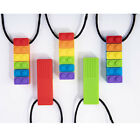 1PC Rainbow Baby Brick Chew Necklace Silicone Teether Autism Sensory Chewy Toys