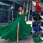 Womens Sexy High Slit Maxi Dress Swing Pageant Cocktail Evening Party Ball Gown