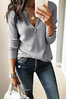 Womens V-Neck Sweater Jumper Ladies Loose Casual Tops Blouse Pullover Size 6-18