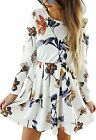 Angashion Womens Dresses Casual Floral Print Long Sleeve Swing Pleated Skater A