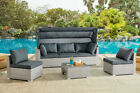 Rattan Sunbed Garden Furniture Set Outdoor Sofa Chair Bed Table Set Modular New