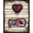 Drifting by Abril Andrade Sugar Skull Heart Balloon Sheet Music Canvas Art Print