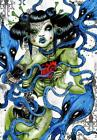 Squid by Tegan Coddington Japanese Zombie Horror Girl Tattoo Canvas Art Print