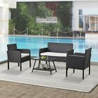 4 Pcs Patio Garden Pe Rattan Outdoor Furniture Set Coffee Table Wicker Cushioned