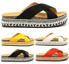 LADIES WOMENS STRAP STUDS FLATFORM SUMMER PLATFORM BOW SANDALS SHOES SIZE 3-8