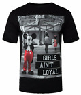 Mickey Mouse Mens S/S T-Shirt GIRLS AINT LOYAL Disney BLACK Funny Vtg L-XL $30