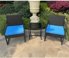 3PC Outdoor Patio Set Wicker Patio Furniture Sets Bistro Set with Coffee Table