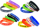 Silicone Bracelets Wrist Bands Medical Alert Health Survival Aware Adults Kids