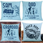 Personalised FISHING Cushion Cover Fathers Day Grandad Pillow Dad Birthday Gift