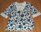 *FASHION BUG KNIT TOP SHIRT SIZE S BLUE WHITE FLORAL PULLOVER NWT