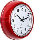 9.5 Red Retro Round Wall Clock Silent Movement Quartz Home Office Kitchen Room