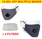 Reusable Washable Cotton Cloth Face Mask with Valve / Pocket + 2 PM2.5 Filters