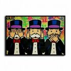 Alec Monopoly Not hear, see, speak Canvas Print Wall Art Picture Home Decor