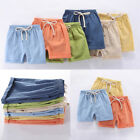 Summer Children Kids Boy Girl Linen Casual Shorts Elastic Waist Pants Clothes