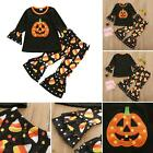 Girls Kids Halloween Party Outfit Long Sleeves Pumpkin Tops Falre Pants Costumes