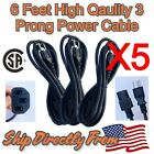 1-6 Lot Sales - CSA 6Ft 3-PRONG POWER CORD 10A 125V CABLE (iMac HP DELL IBM)