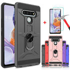 For Lg Stylo 6 Case, Metal Ring Kickstand Cover+tempered Glass Screen Protector