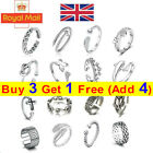 925 Sterling Silver Solid Toe Ring Adjustable Stacking Midi Knuckle Top Finger H