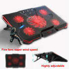 New 5 Fans Gaming Laptop Cooling Pad Stand Notebook Strong Cooler 12-17'' Inch