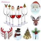 Christmas Decor Red Wine Glass Card Christmas Hat Snowman Elk Horn Cup Card New